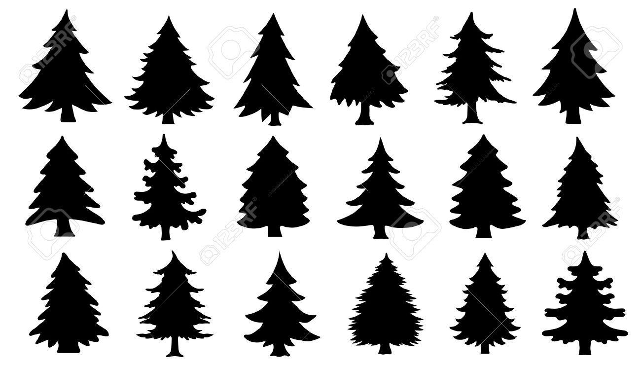 Chritmas Tree Silhouettes On The White Background Tree Silhouette Christmas Tree Silhouette Pine Tree Silhouette