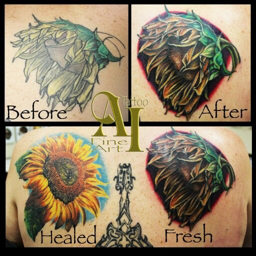 Sunflower Touch Up Before And After Ai Tattoo Orange County Ca