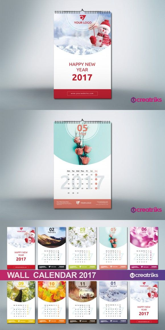 Wall Calendar 2017 V011 Presentation Templates 300