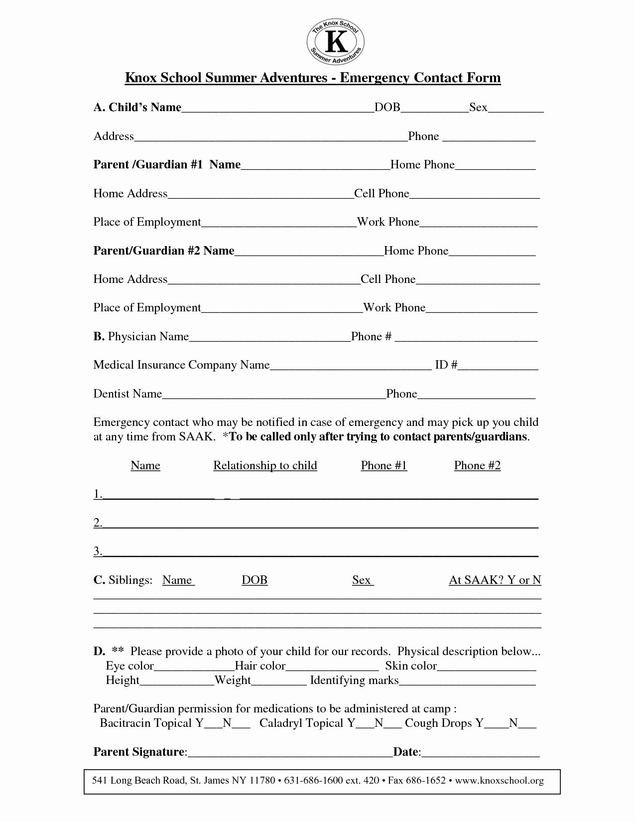 Emergency Contact form Template Fresh Emergency form