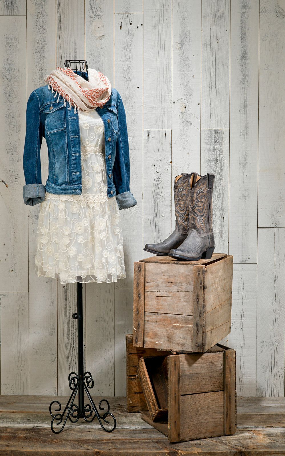 The maya in charcoal paired with a cream dress and jean jacket make