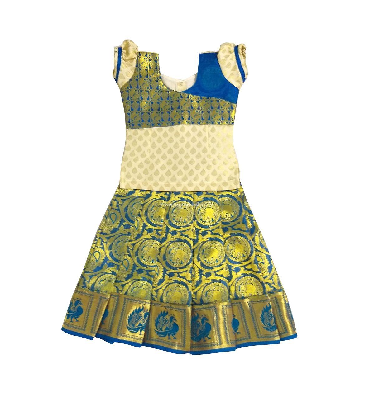 7d9cdeb6cb Traditional zari work pure silk pattu pavadai. Available for newborn kids  to 14 years girls. #Traditionalpattupavadai #girlsfashion #kidsethnicwear  ...