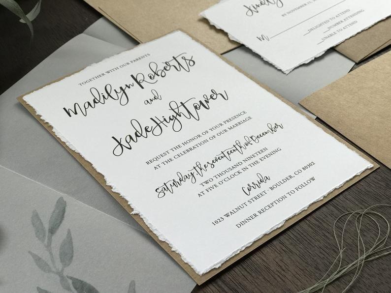 Vellum Wedding Invitation Set Deckled Edge Wedding Etsy Wedding Invitation Sets Botanical Wedding Invitations Wedding Invitations