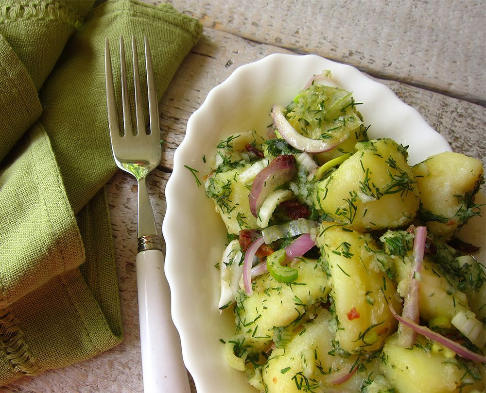 potato salad with herbs and scallions