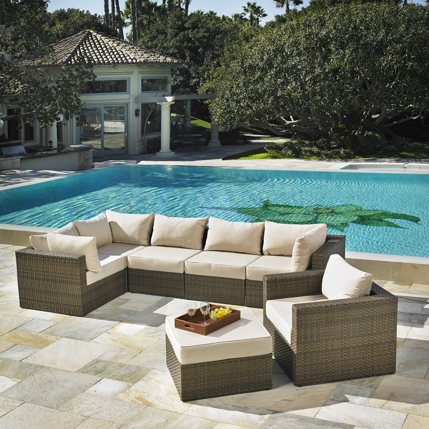 Delicieux Amazon.com : Mission Hills San Clemente 7 Piece Deep Seating Patio Set :  Patio, Lawn U0026 Garden