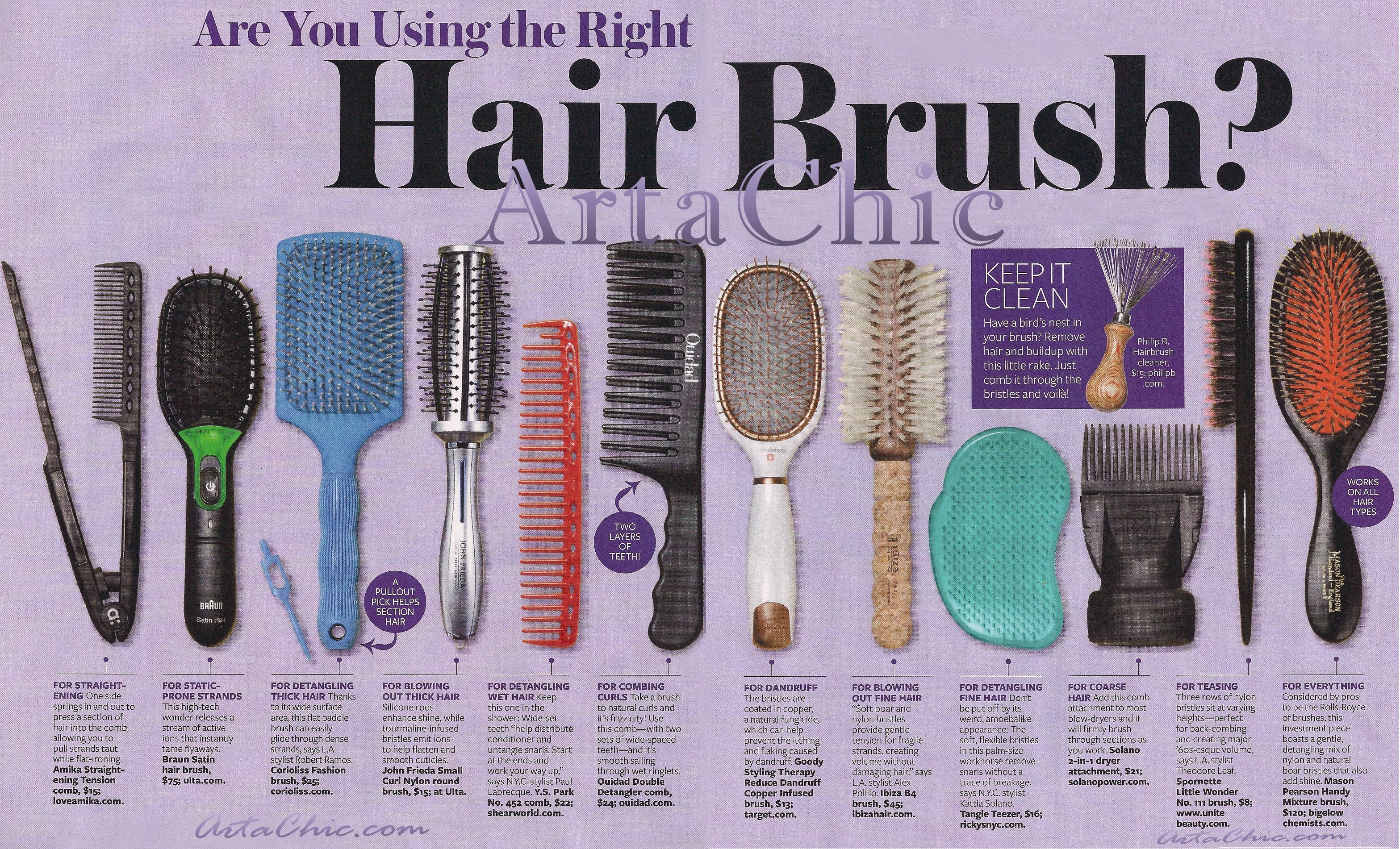 Are You Using The Right Combs Brushes For Your Hair Hair Brush Guide Hair Brush Long Fine Hair