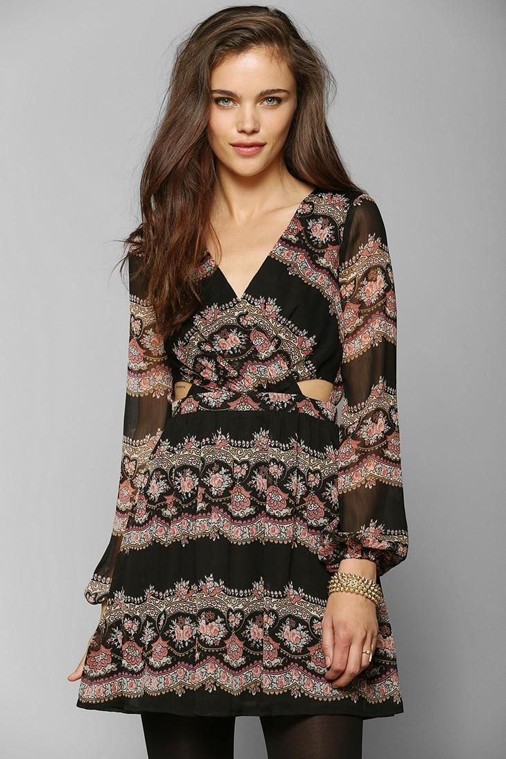 Staring at stars longsleeve surplice cutout dress urbanoutfitters