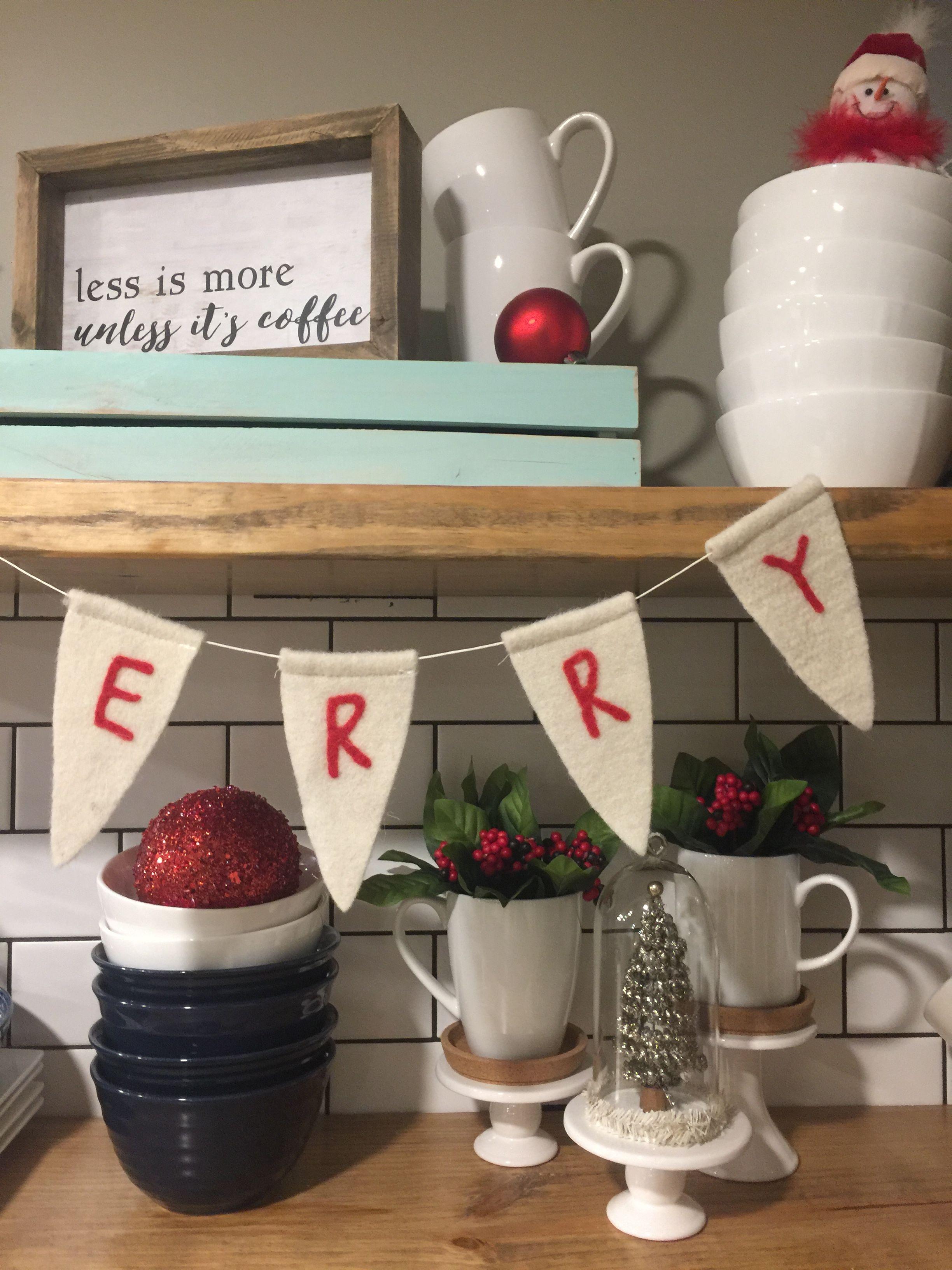 Open Shelving Decor Christmas Decorating shelves