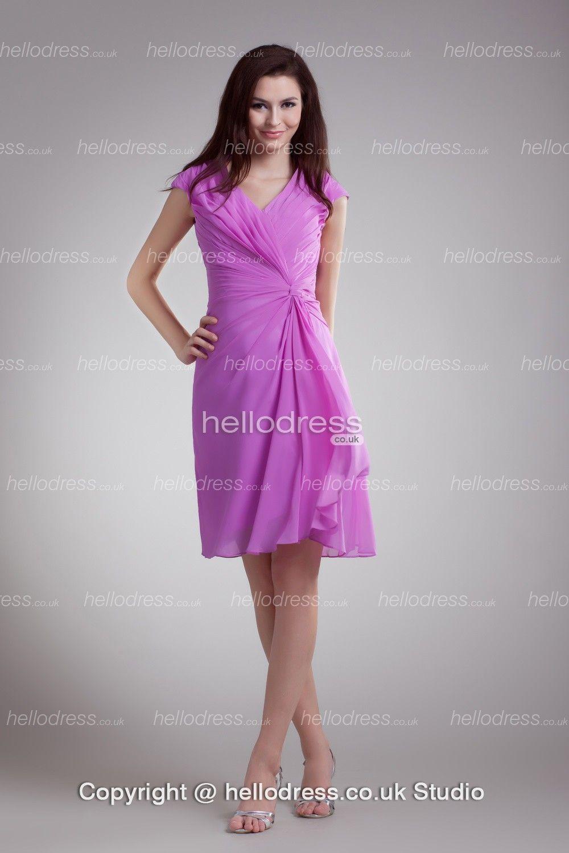 Pretty Lilac Chiffon Ruffles Short Beach Mother Of The Bride Dress ...