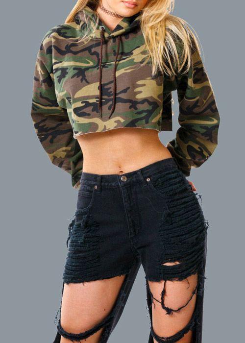 Compre Blusa Cropped Feminina Camuflada Militar  8c023fad978