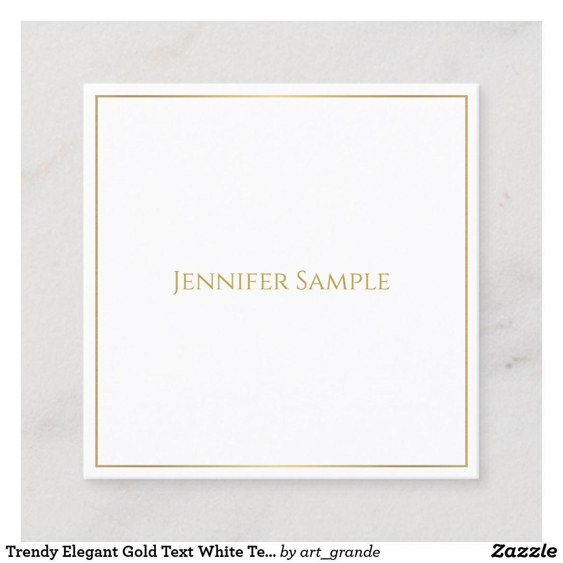 White Template | Trendy Elegant Gold Text White Template Modern Square Business Card