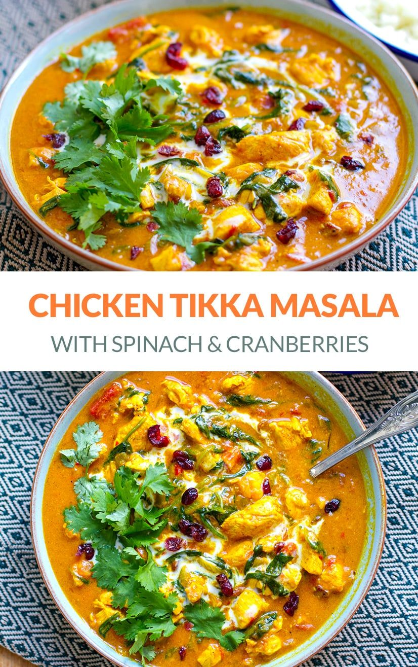 Paleo Chicken Tikka Masala With Spinach Cranberries Recipe