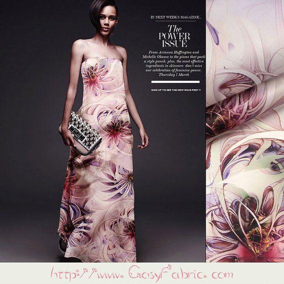 Floral organza pure silk fabric,Fashion silk dress fabric,Designer Summer…