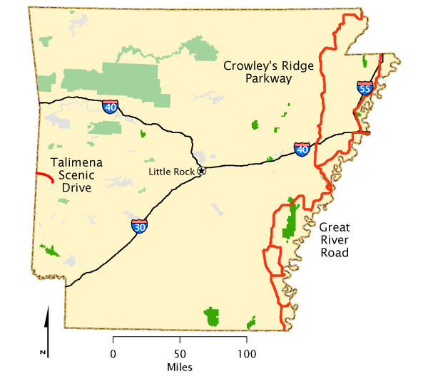Arkansas - Map   America\'s Byways   Arkansas, Little rock ...