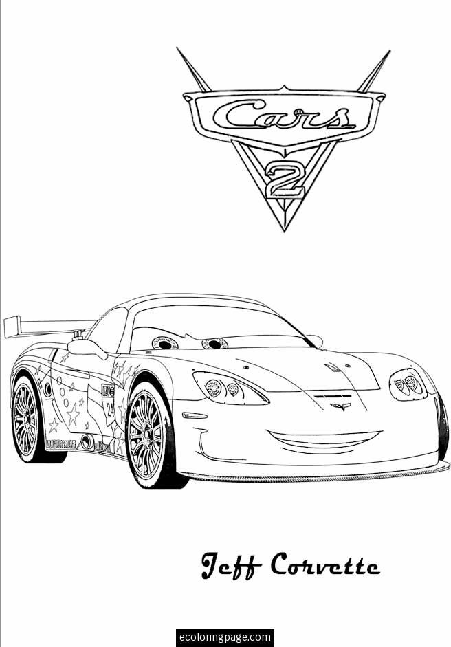Cars 2 Jeff Corvette Printable Coloring Page With Images