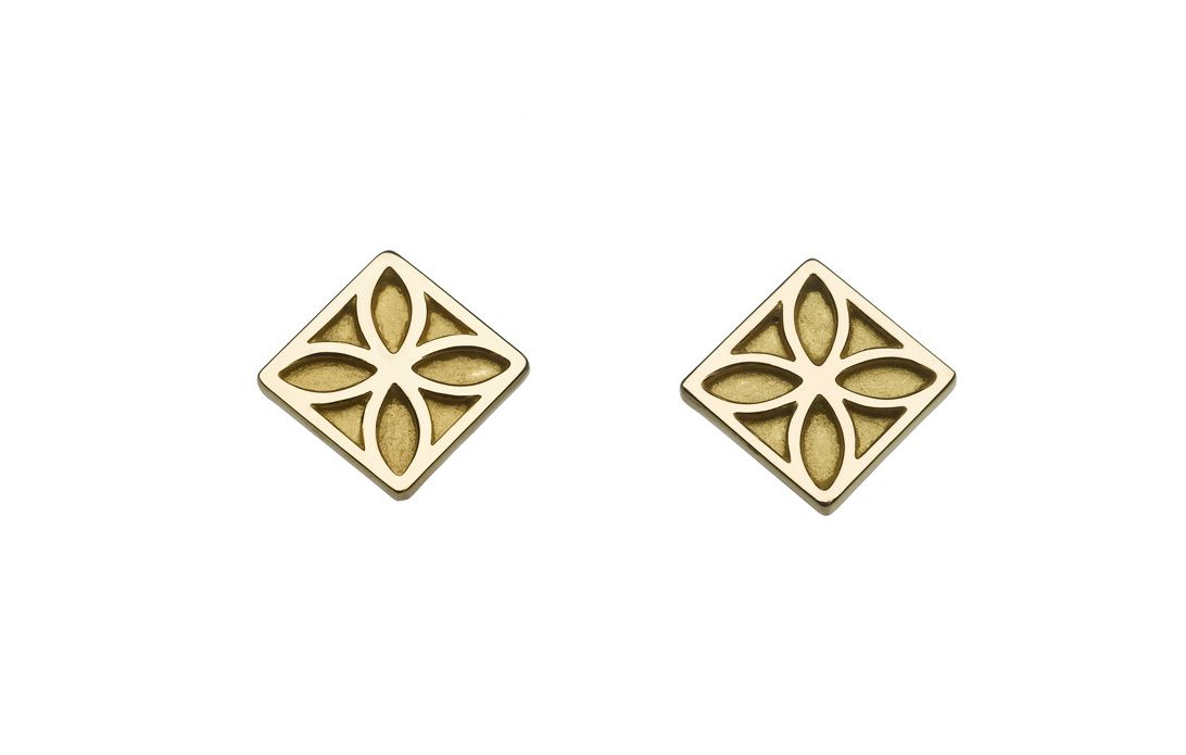 Peranakan motif in brass, plated with 24K gold. Available as 1.2cm by 1.2cm earrings at $75.