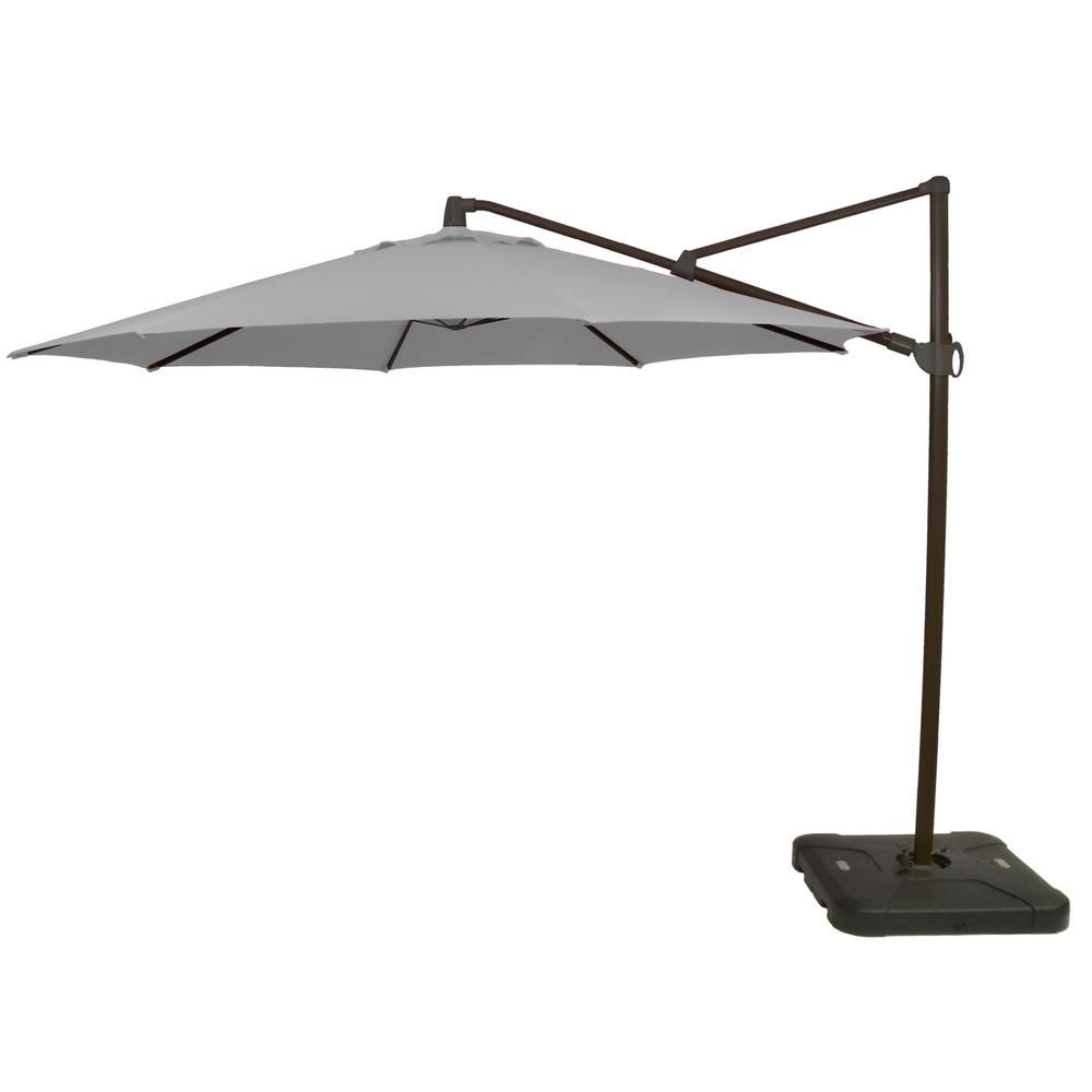 Hampton Bay 11 Ft Aluminum Cantilever Tilt Patio Umbrella In Cushionguard Pewter With Black Pole Offset Patio Umbrella Offset Umbrella Patio