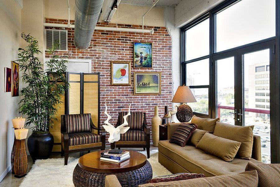 60 фото оформления кирпичной стены в гостиной | Отделка ...