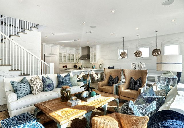house of turquoise blackband design living room with lots of furniture - Beachy Living Room Sets