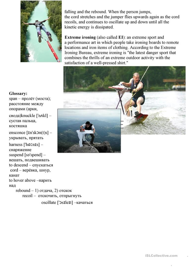 List of extreme sports English ESL Worksheets for