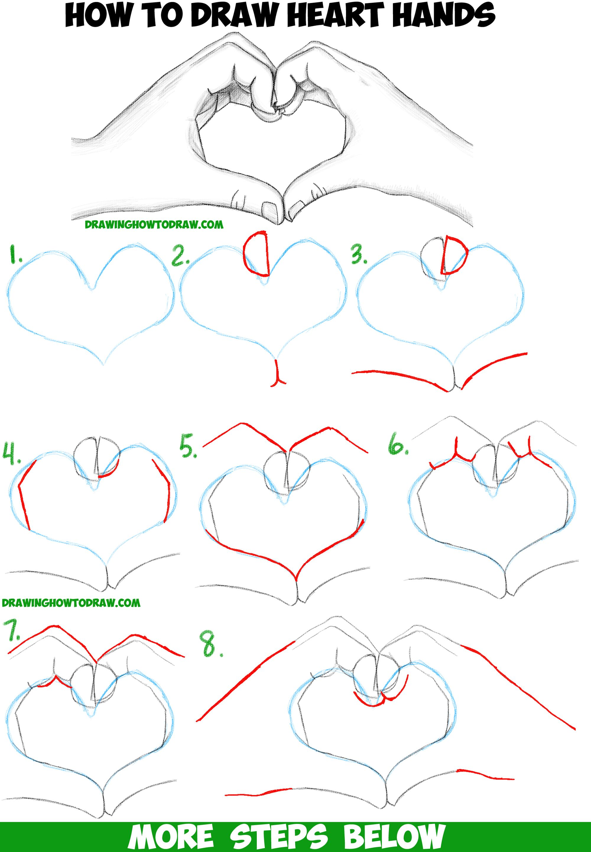 How to draw heart hands in easy to follow step by step for Learn to draw cartoons step by step lessons
