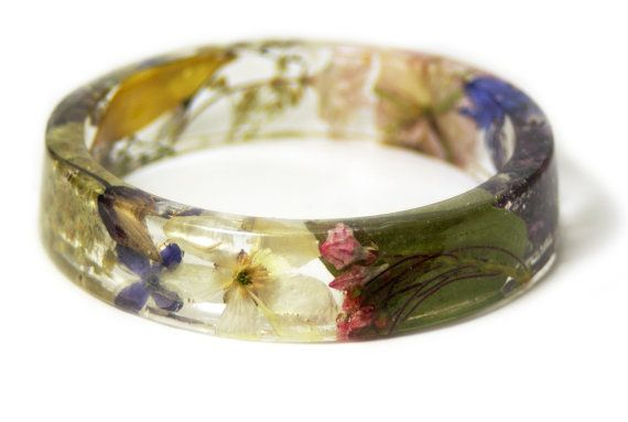 Real flower resin jewelry- flower bracelet