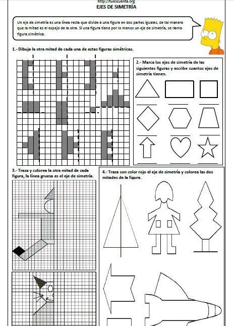Ejercicios De Ejes De Simetria Primaria Ejercicios De Simetria Simetria Material Educativo