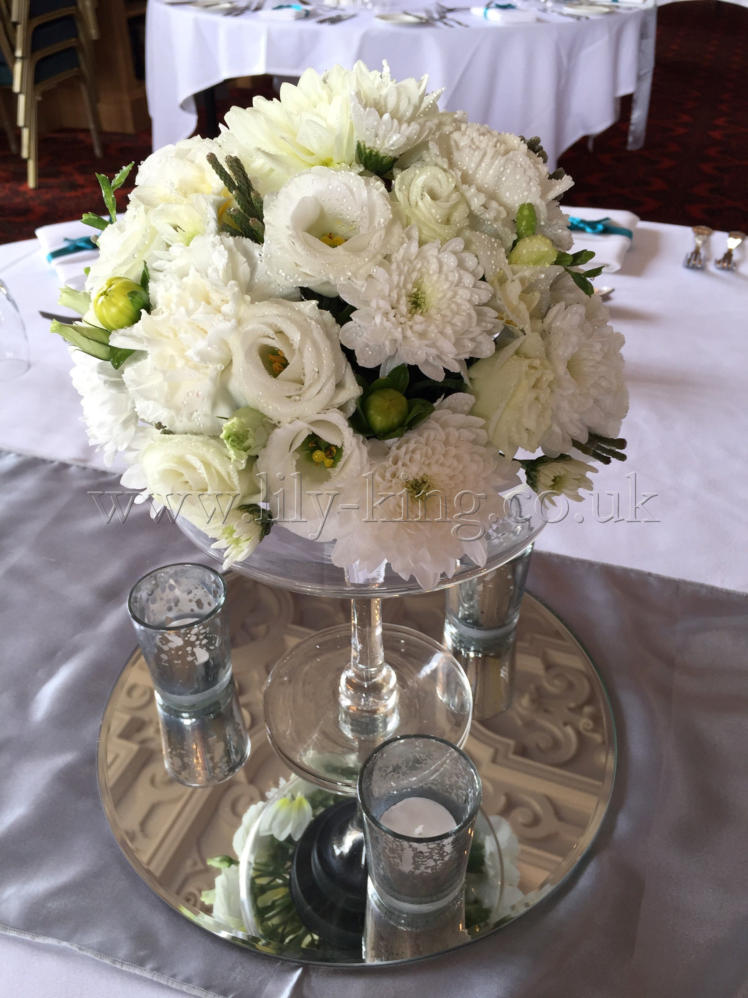 White Flower Ball Arrangement Of Lisianthus And Dahlias By Lily