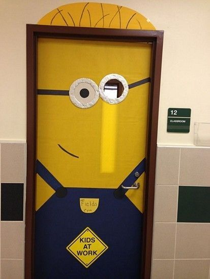 2014 creative minion craft classroom doors decorations - Kids at work quote for Halloween #2014 #Halloween #Minion