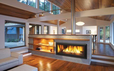 Half Wall Gas Fireplace Google Search Sunken Living Room Fireplace Design Fireplace Modern Design