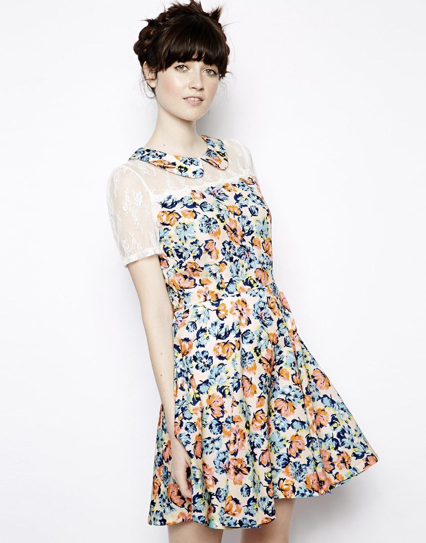 Nishe Lace Insert Floral Skater Dress. Adore this lace top and Peter Pan collar!