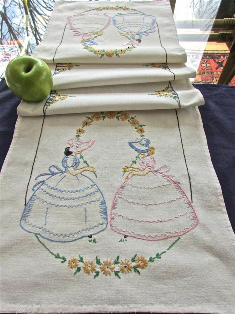 Vintage Vogart Hand Embroidered Southern Belles Table Runner Buffet ...