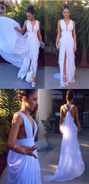 Aline halter sleeveless sweep train white prom dress with pleats