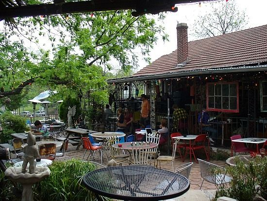 Spider House Is One Of Austinu0027s Most Recognizable And Iconic Coffee Houses,  Featuring A Web Of Colored Bulbs Strung Over A Stone Patio Filled With  Vintage ...