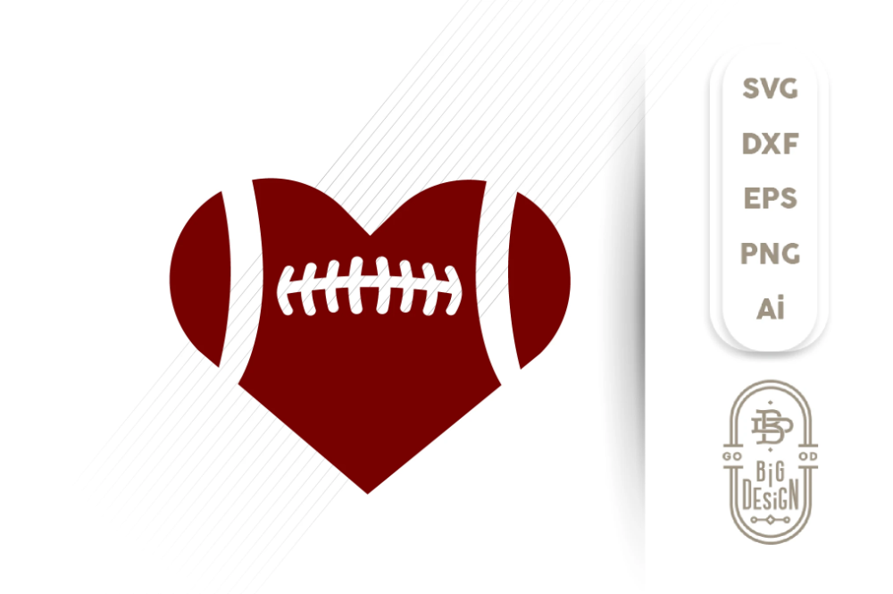 Football SVG Football Heart Svg , Football Love SVG