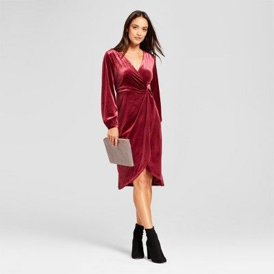 ce4e0eef95a Women s Velvet Twist Front Dress - A New Day™ Burgundy XL   Target ...