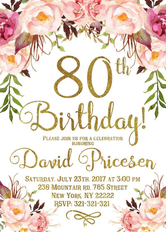 80th Birthday Invitation for women, 80th Birthday