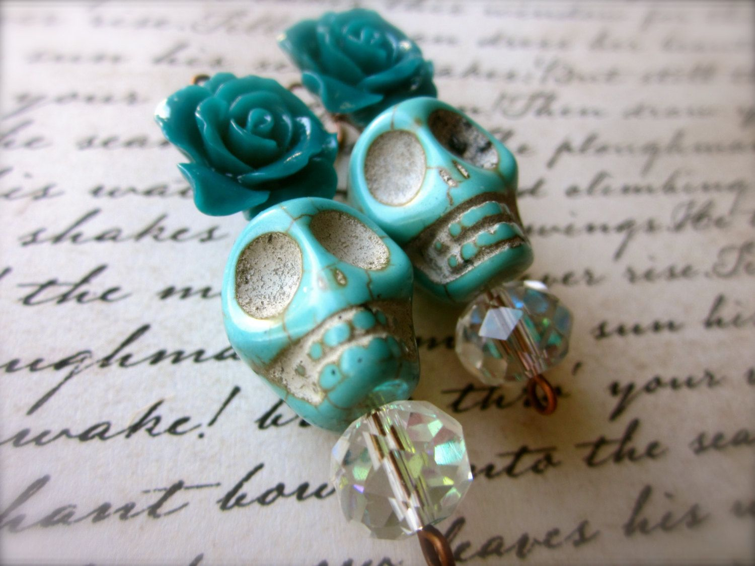 Teal Turquoise Day of the Dead Earrings - Frida Kahlo Inspired - Sugar Skull Jewelry - Dia De Los Muertos Earrings by SugarSkullsJewelry on Etsy