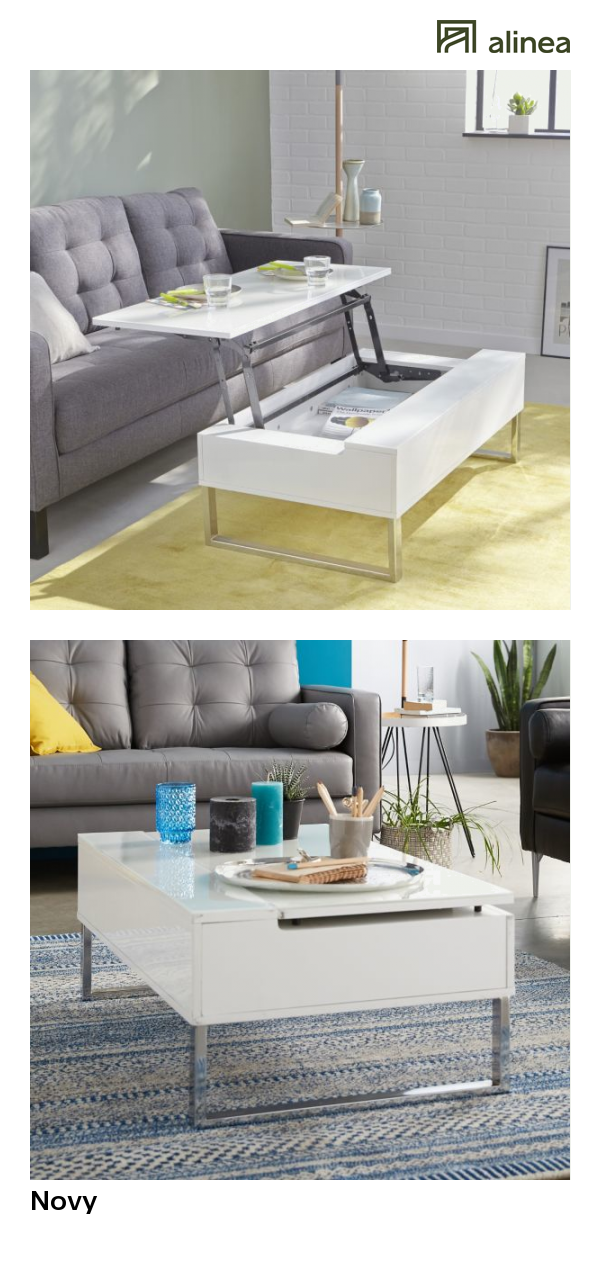 blanche table basse avec alineanovy tablette relevable WE2HD9I