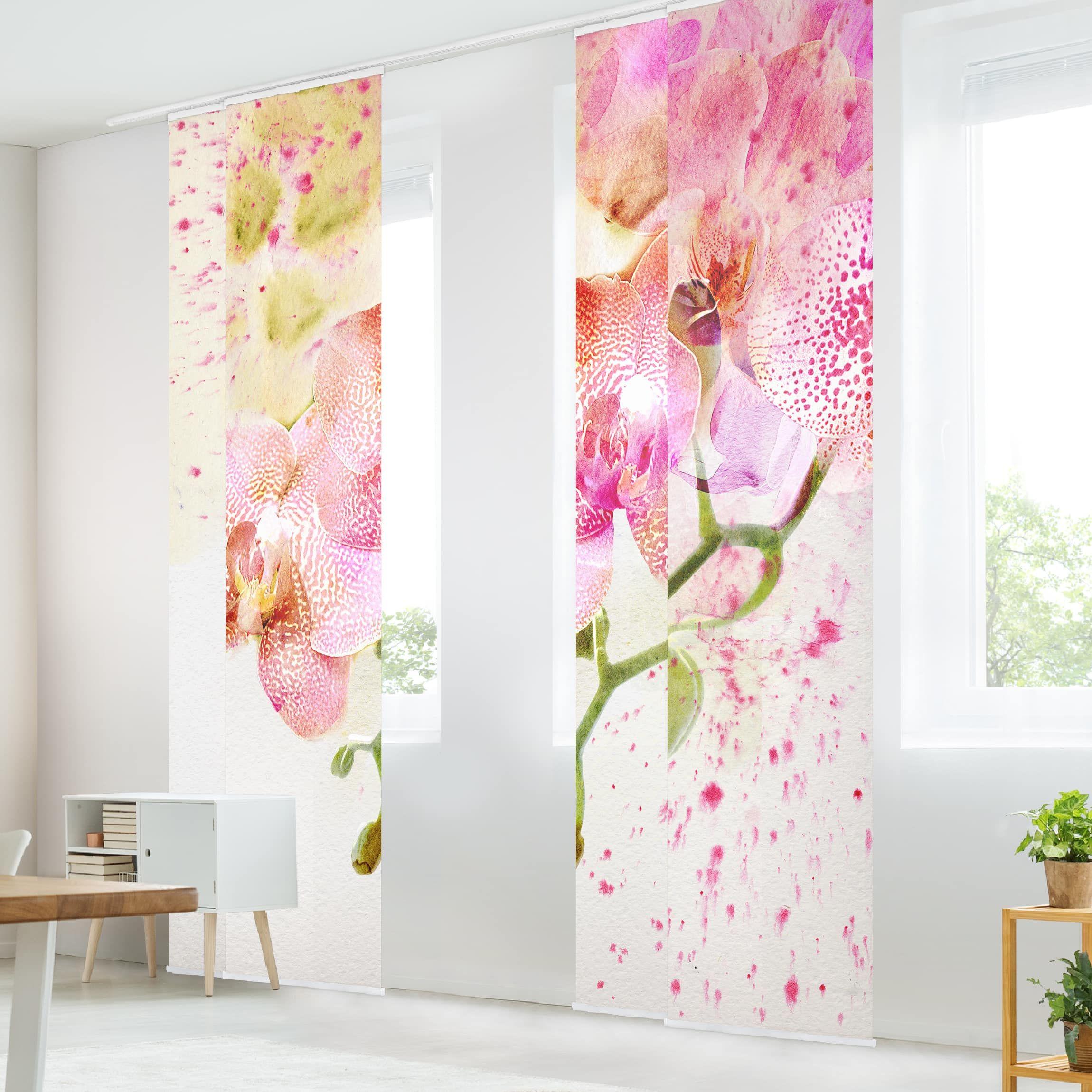 Schiebegardinen Set – Aquarell Blumen Orchideen – 4 Flächenvorhänge