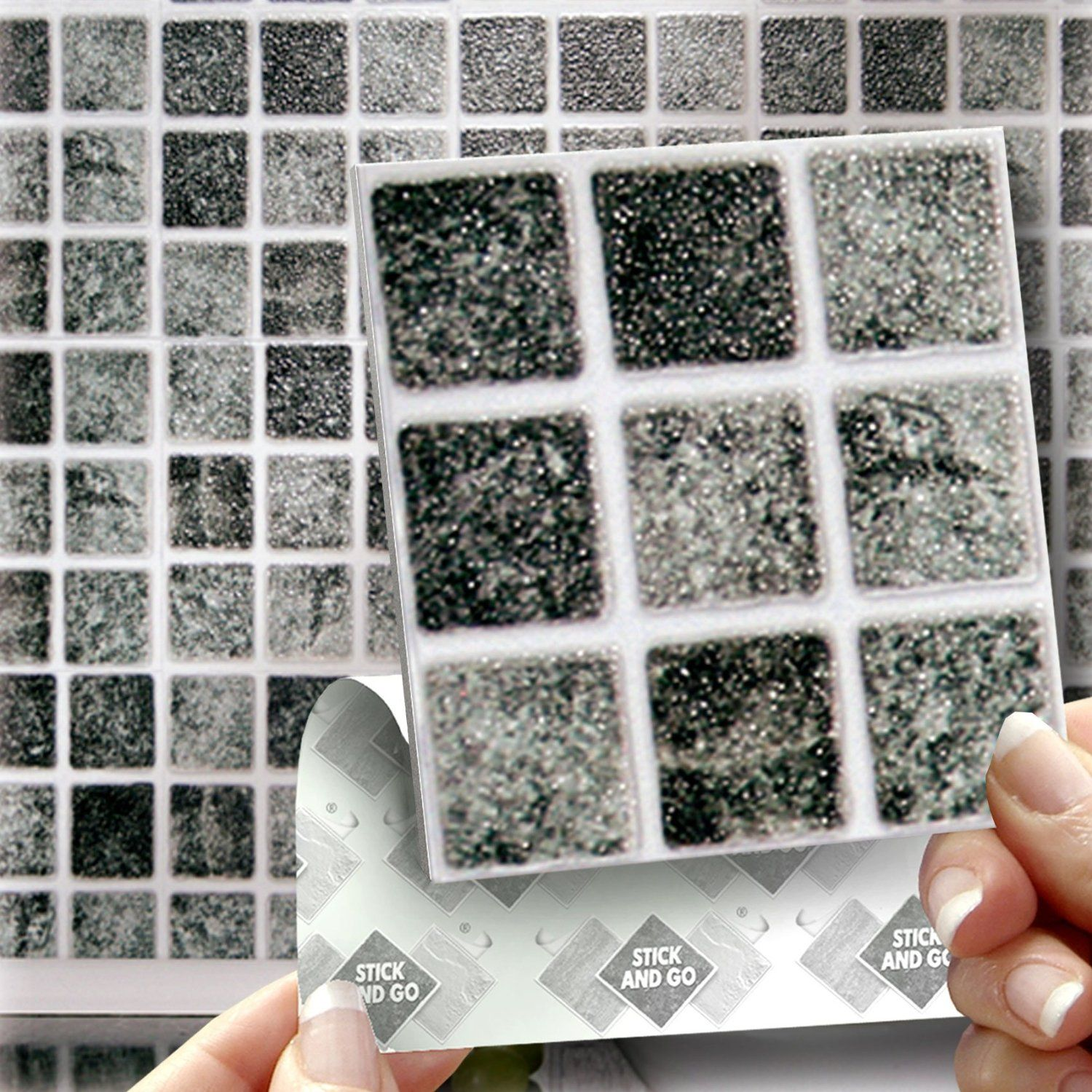 GRANITE MOSAIC EFFECT WALL TILES: Box of 18 tiles Stick and Go ...