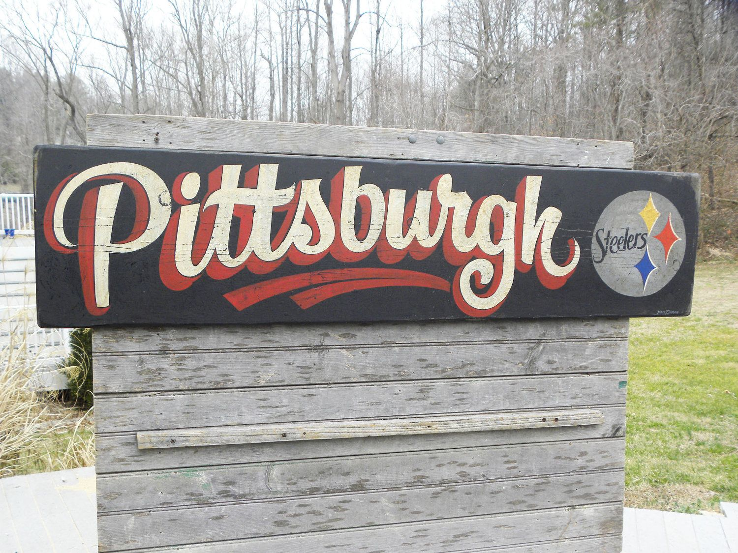 Pittsburgh steeler sign hand painted sign faux vintage 95 00 via etsy