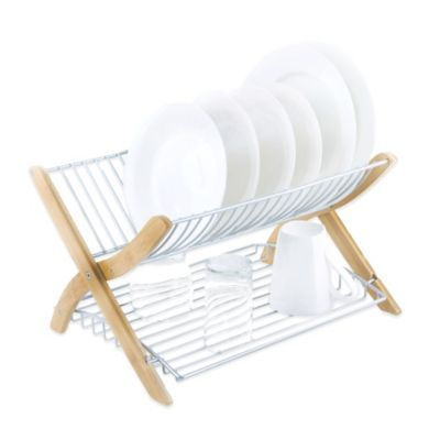 Bed Bath And Beyond Drying Rack Enchanting Umbra® Stack Dish Rack In Bamboonickel  Dish Racks Nickel Finish