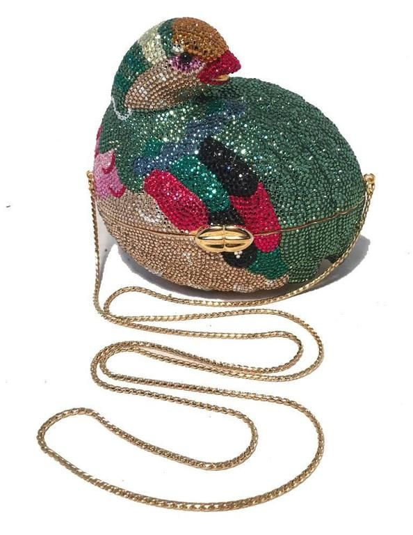 Judith Leiber Colorful Quail Swarovski Crystal Minaudiere 1980