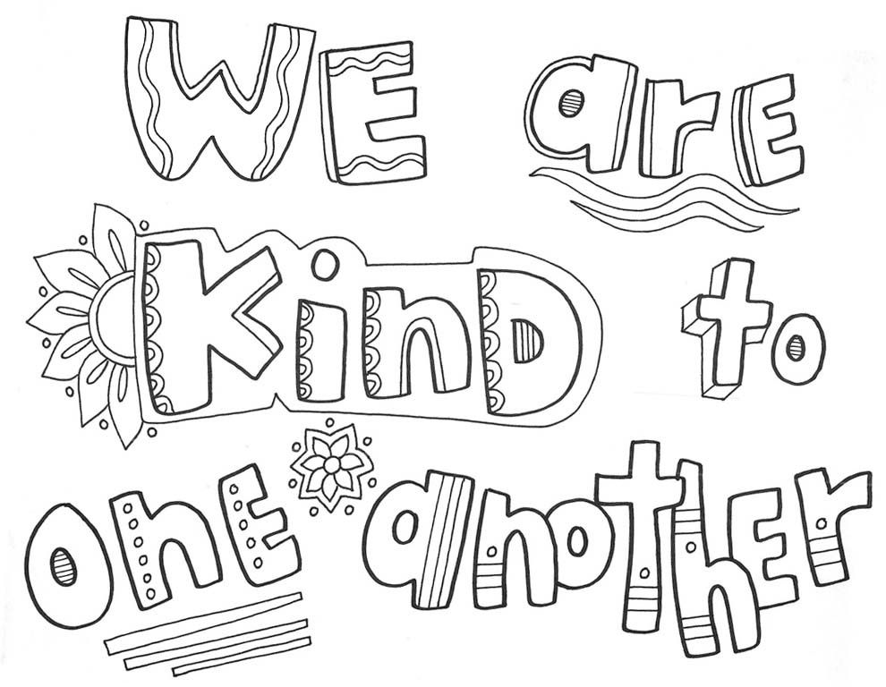 Kindness Coloring Pages In 2020 Quote Coloring Pages Color