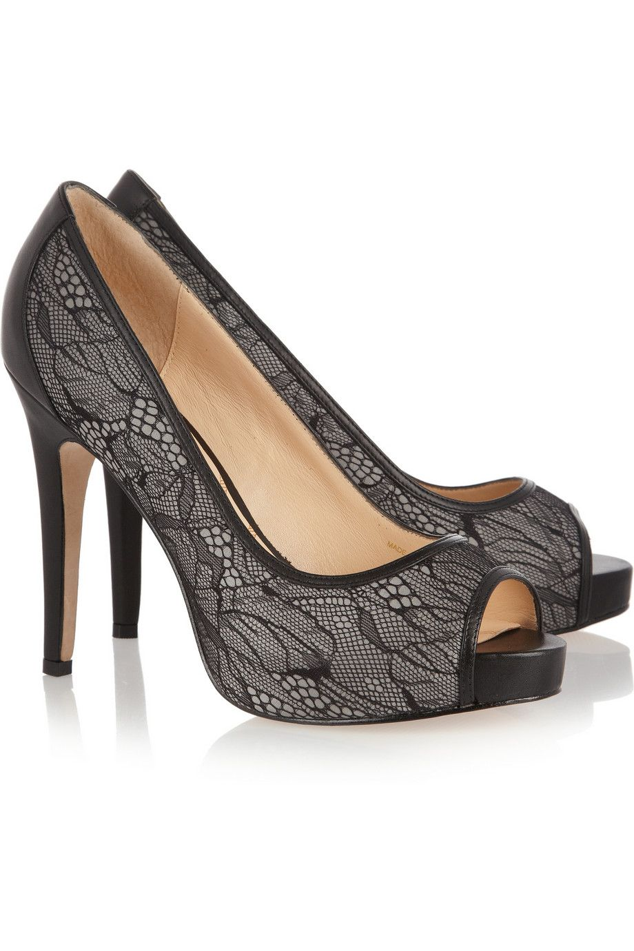 cc8f30e622e7 Tanzanite lace and leather pumps by Lucy Choi