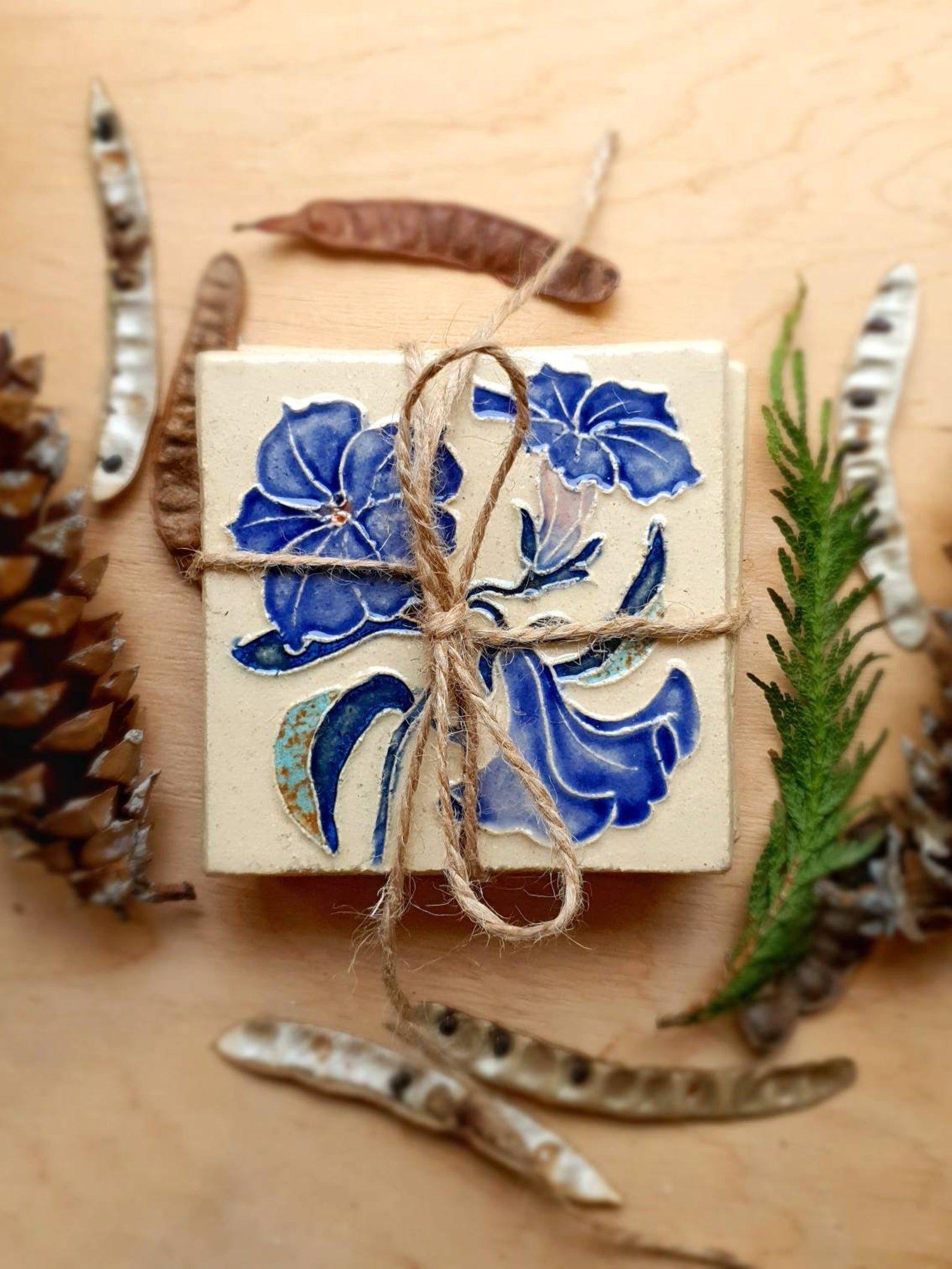 Floral Ceramic Tiles / Set of 4 / Wall Decor / Flower