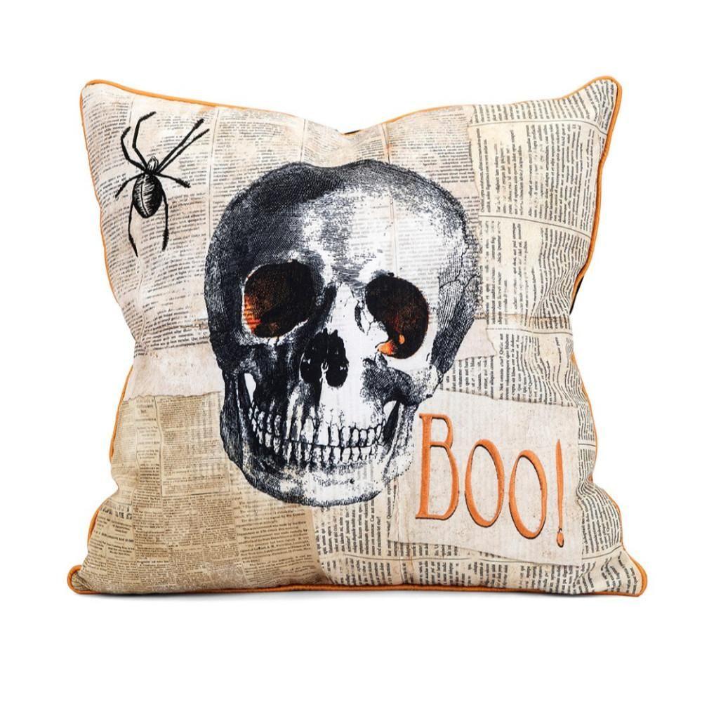 Apothescary Halloween Skull Pillow Black and Orange