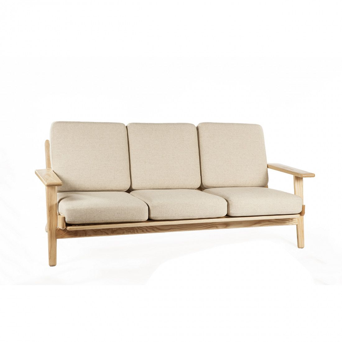 Hans Wegner Sofa Replica Mid Century Modern Reproduction Ge 290 Plank Sofa Beige Inspired