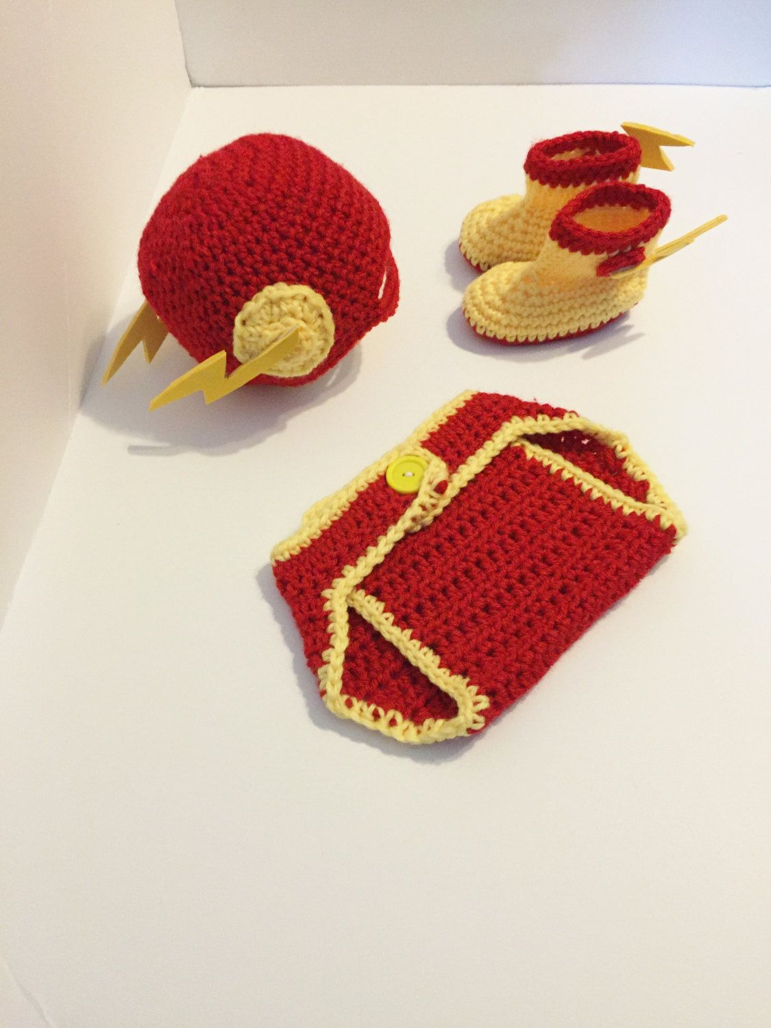 7022d9f38725cf Crochet Flash Inspired Hat and Diaper Cover, Super Hero Outfit, Photo Prop…